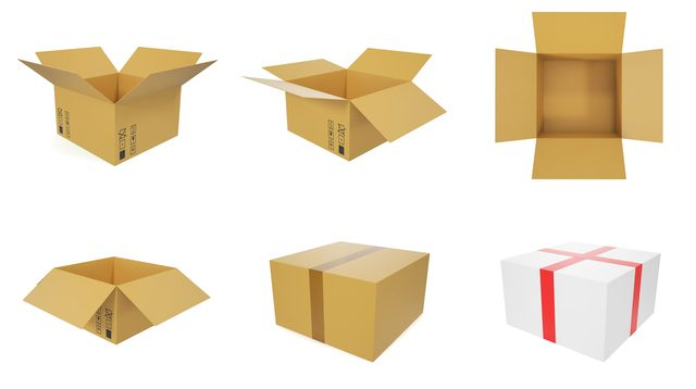 Set of cardboard boxes for shipping goods isolated on white background.